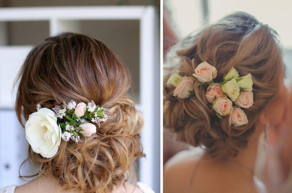 Прическа с цветами в волосах на выпускной