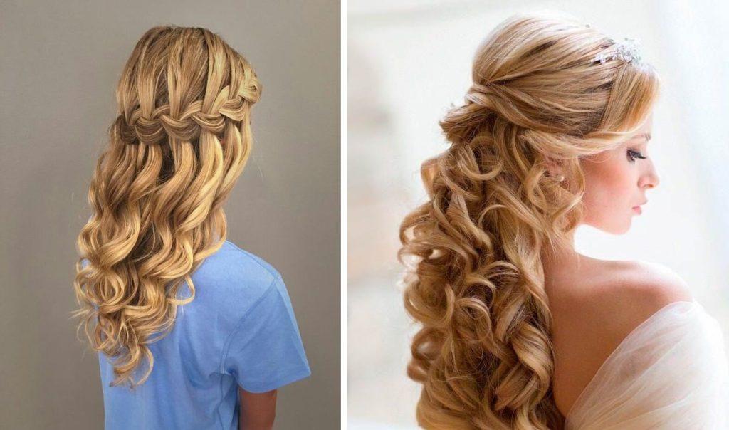 Прическа на выпускной: водопад с локонами на длинные волосы