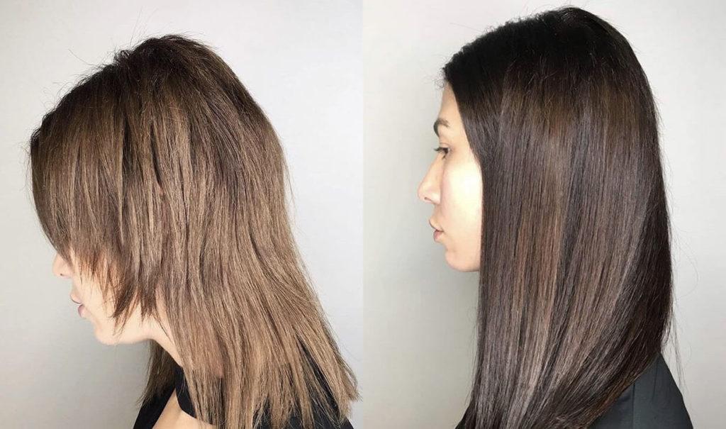 Капсульное наращивание волос до и после