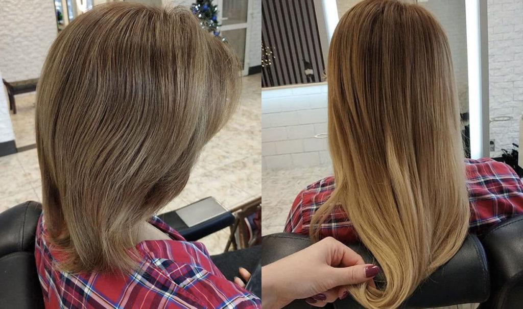 Ленточное наращивание волос до и после